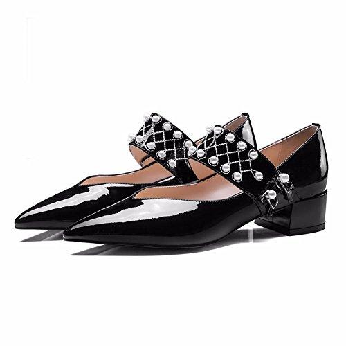 Talon NVXIE Robe Rugueux Boucle Pied EUR38UK55 Pompes Perle BLACK Faible Travail Chaussures Cuir Pointu Doigt Fête de Noir Chunky Femmes Tribunal nXrT0z4n