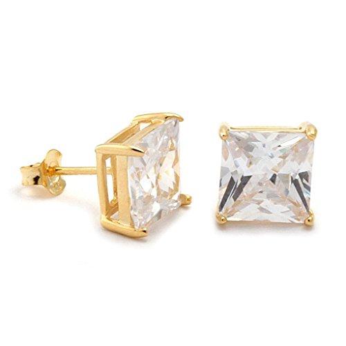 J.Shine Men Hip Hop 8mm 18k Gold Tone Stainless Steel Princess Cut Squire Crystal CZ Stud Earrings GE638