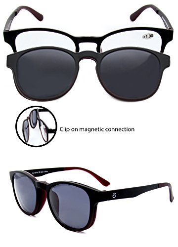 Reading Glasses With Clip On Sunglasses - Prescription Readers with Removable Magnetic Shades - Bonus Microfiber Pouch - +100 Strength - by Optix - Wayfarer Sunglasses On Clip