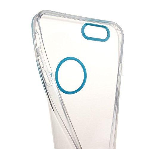 iPhone 6S funda, iPhone 6 caja, iPhone 6S/6 semilisa funda, funda para iPhone 6S/6, colores NSSTAR TPU suave 2-in-1 híbrida alpexe trasera transparente funda de piel para Apple iPhone 6 (2014) y iPhon azul