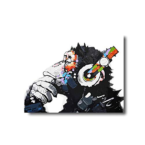 iFine Art ' DJ Monkey Thinker with Headphones Chimp ' Wall Art Framed Oil Paintings Printed on Canvas for Home Decorations Home Decor Modern Artwork Hanging for Living Room Bedroom, Ready to Hang ()