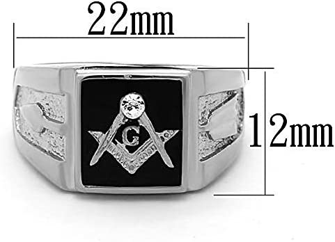 316 Stainless Steel Square Masonic Mason April Clear Crystal Men Ring Size 8-14