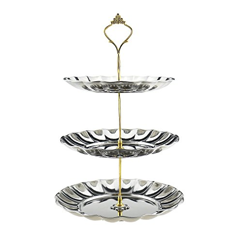 Fruit Plates, Samyoung 3-Tier Stainless Steel Cake Wedding Stand Fruits Desserts Candy Cheese Tableware Plates Display for Wedding Home Gold Party Celebration