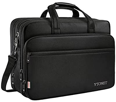 17 Inch Laptop Bag, Travel Briefcase with Organizer, Expandable Large Hybrid Shoulder Bag, Water Resisatant Business Messenger Briefcases for Men and Women Fits 17 15.6 Inch Laptop, Black