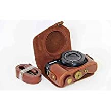 Clanmou G7 X MarkII Protective Leather Camera Case Bag for Canon PowerShot G7 X Digital Camera with Camera Shoulder Strap Dark Brown