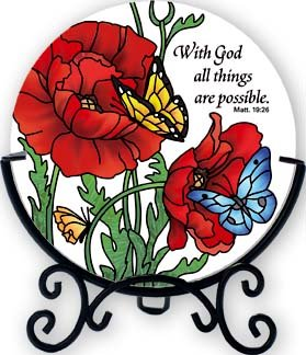 Candleware Poppy Garden With God all things are possible. Matt. 19:26 Tea Light Candle Holder Red Poppies Flower Butterflies Butterfly