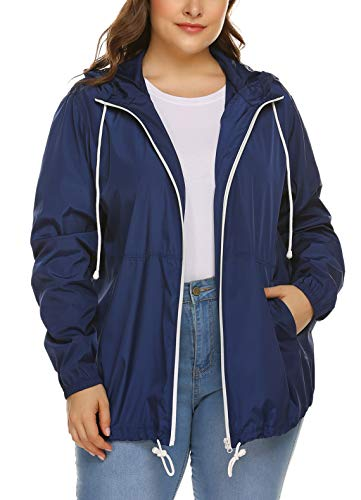 IN'VOLAND Women's Plus Size Raincoat Rain Jacket Lightweight Waterproof Coat Jacket Windbreaker with -
