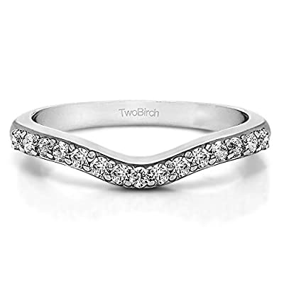 Platinum Diamond Delicate Curved Wedding Ring set in Platinum (0.25 Ct. Twt.) (Diamonds G-H,SI2-I1) with Diamonds (0.25 ct. twt.)