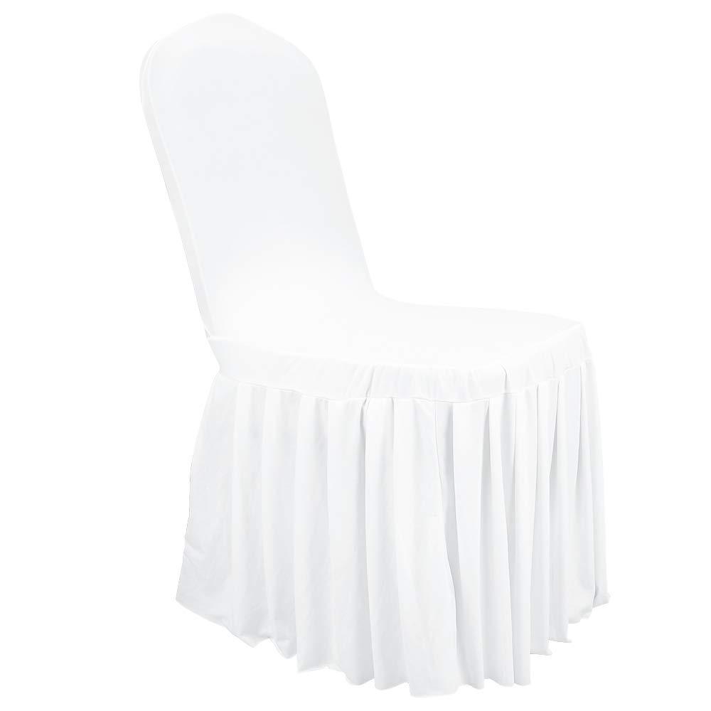 Amon Tech ウェディングチェアカバー スパンデックス フリル付き 数量は多 伸縮性 椅子カバー ダイニングルーム 宴会 パーティー Z8GBZQ-WT-50 結婚式 25個 B07QK7L4FR お金を節約 50Pcs