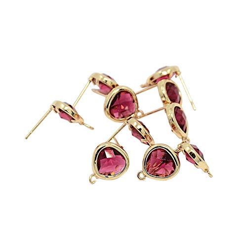 - PH PandaHall 10 Pieces Gold Plated Brass Ear Studs with Flat Triangle Rhinestone Setting for Earring Finding, Red