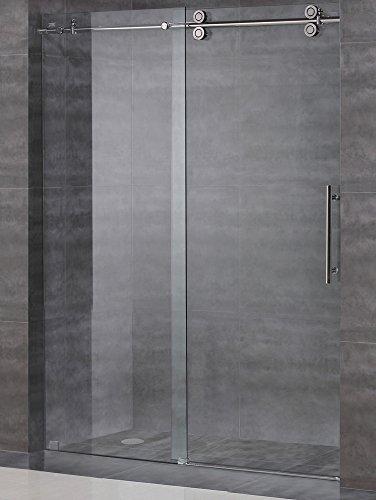 Glass Shower Door Hardware - Frameless Sliding Shower Door Hardware Kit / Glass Door Not Included / Brushed Satin Finish - AquaLine III Series (6 Feet Rail Length)