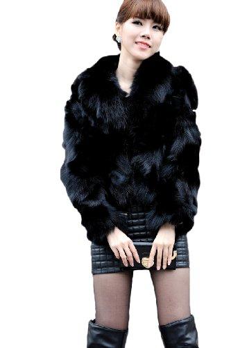 Queenshiny Women's 100% Real Genuine Fox Fur Coat Jacket With Fox ()