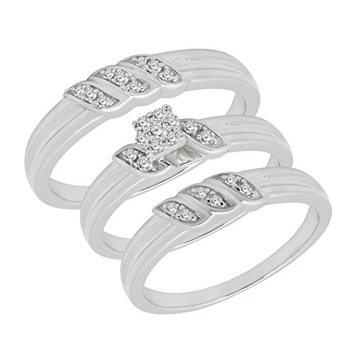 1/4 ct Real Diamond Engagement Ring & Wedding Band Ring Trio Set 925 Sterling Silver by omega jewellery