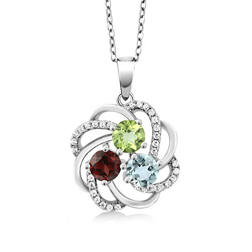 Gem Stone King 925 Sterling Silver Build Your Own Personalized 3 Round Birthstones Fashion Love Mothers Women