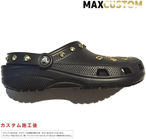 クロックス パンク カスタム クラシック 純金メッキ加工 黒 ブラック crocs custom サンダル