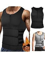 Mens Sweat Sauna Vest Body Shaper Waist Trainer With Zipper Neoprene,Sports Corset Vest For Men Weight Loss Slim