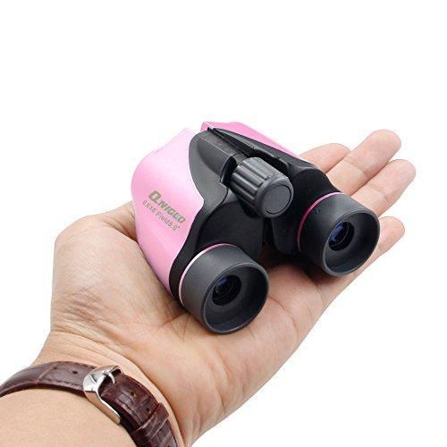 Qniglo Binoculars for Kids High Resolution 6x18 Kids Binoculars Set Gift Toy for Girls Bird Watching, Hiking, Camping, Outdoor Adventures (Pink)