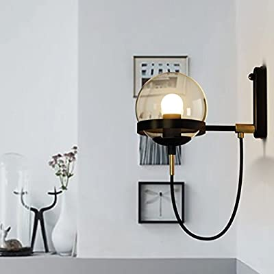 """BAYCHEER HL428601 Industrial Vintage style 5.9"""" Wide Single Light wall sconces Wall Light Lamp with glass Globe shade use 1 E26 Bulb in Black"""