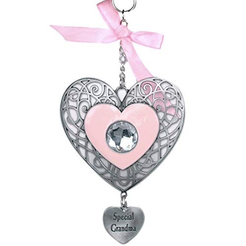 BANBERRY DESIGNS Special Grandma - Heart Ornament with Charm and Crystal - Grandmother Christmas Ornament