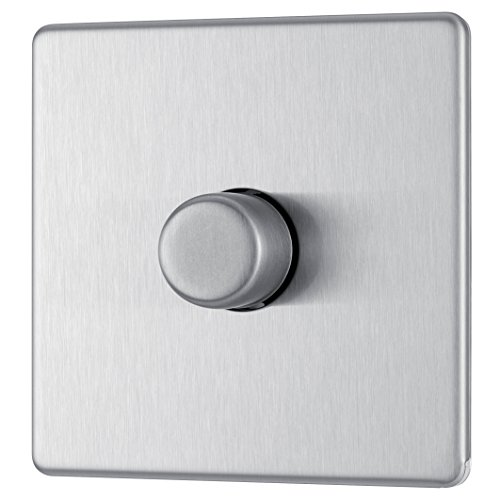 BG Electrical FBS81P-01 Screwless Flat Plate 400W 1 Gang 2 Way Push Dimmer Switch, 400 W, Brushed Steel