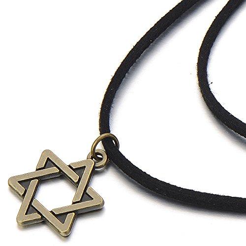 COOLSTEELANDBEYOND Ladies Black Choker Necklace with Star of David Charm Pendant