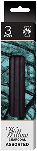 Willow Sketching Charcoal (Pentalic Willow Charcoal 3 Sticks (Assorted Pack), Thin/Medium/Thick)