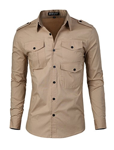 uxcell Men Slim Fit Point Collar Pockets Long Sleeves Stretch Casual Shirt Khaki M US 40