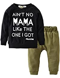 Toddler Baby Boy Letters Printed Tops Pants Leggings Outfits Clothes Set (18-24 Months)