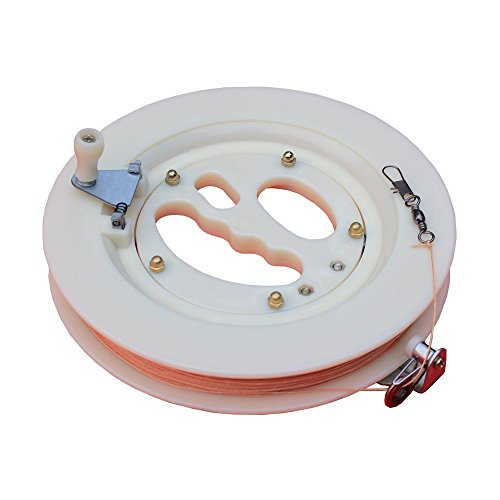 (Hengda Kite Professional Color Kite Ballbearing Reel Line Winder Grip Wheel + 200M Tire Line With Lock-White)