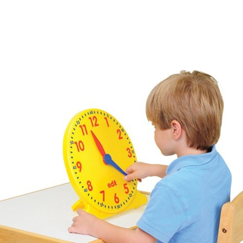 - Constructive Playthings EDX-822 Geared Teaching Clock with Large 12 Hour Markings, 12