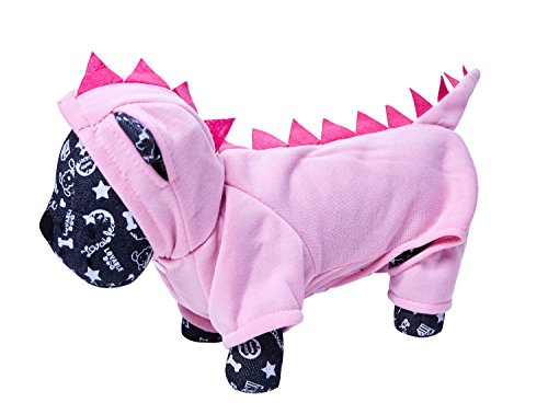 OSPet Dinosaur Halloween Costume with Hood for Small Dogs & Cats Jumpsuit Winter Coat Warm Clothes (Halloween Costumes For Dachshunds)