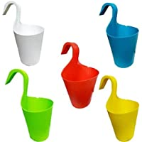 KETSAAL Multicolour Hook Flower Pots, Vertical Hook for Home Gardening/Balcony Railing (Set of 5)