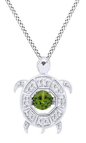 Round Shape Simulated Green Emerald WIth White CZ Turtle Floater Pendant Necklace In 14K White Gold Over Sterling Silver (Peridot Turtle)