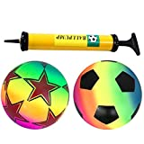 STOBOK 2 Pcs PVC Plastic Shoot Soccer Football | Soft & Lightweight | Colorful Inflatable Children Toy with Air Pump for Indoor Outdoor Play Beach, Park and Backyard