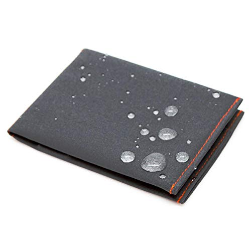 - SlimFold Minimalist RFID Wallet - Thin, Durable, and Waterproof Guaranteed - Made in USA - MICRO Size Charcoal with Orange Stitching