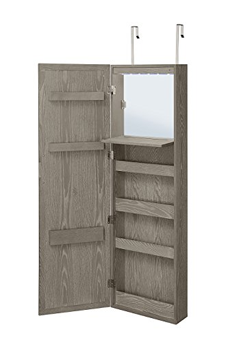 Abington Lane Wall Mounted Over The Door Makeup Organizer Beauty Armoire LED Lights Stowaway Mirror (Heathered Grey)