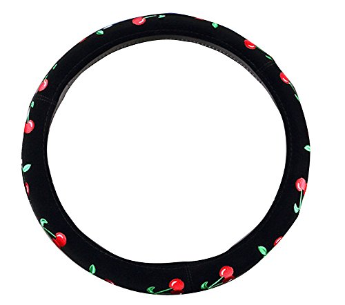 Cover Cherries Wheel Steering - Mayco Bell 2016 Automotive Women Embroidery Cute Car Steering Wheel Cover (Cherry)