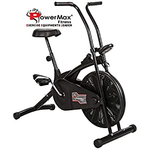 Powermax Fitness BU-203 Air Bike with Fixed Handles – Exercise Cycle for Weight Loss, Cardio Workout at home – Compact Design and Comfortable Seat