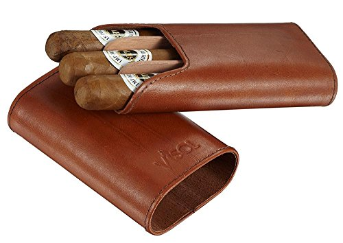 Visol Cuero Top Grain Tan Leather 3-Finger Cigar Case with Cedar Lining (Leather Finger Case 3 Cigar)