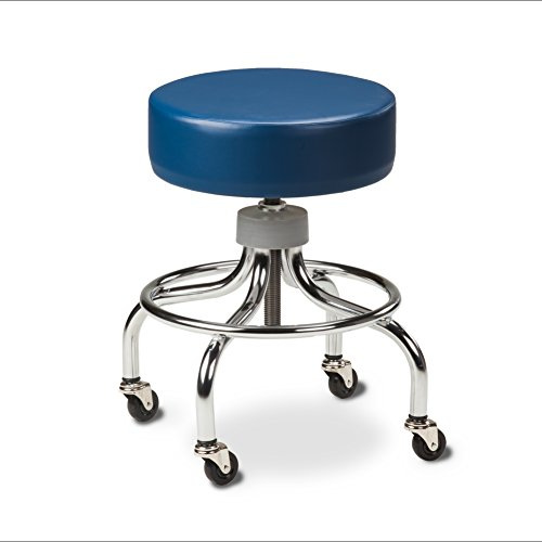 Chrome Base Stool with round foot ring-Wedgewood