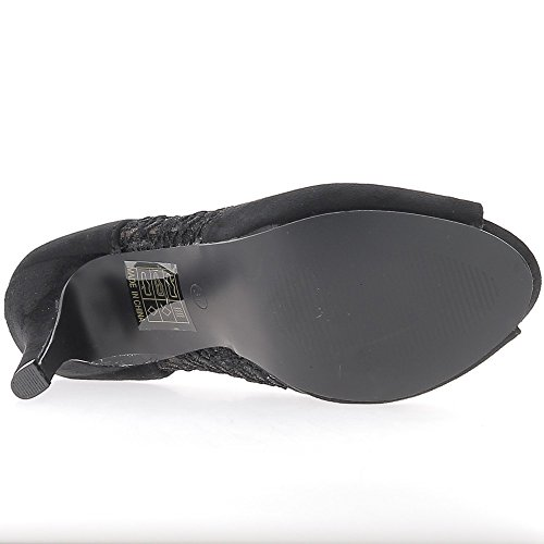 Bombas de mujer negra tacon plataforma 11 cm 2cm abierta