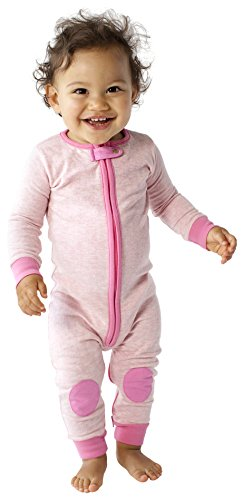 baby deedee 1 Piece Long Sleeve Footless Romper, Heather Pink, 12-18 Months