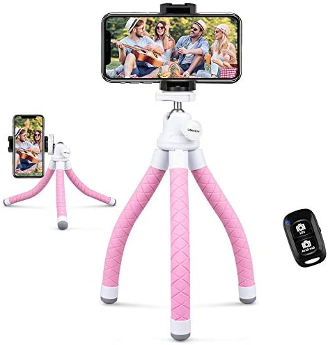 UBeesize Phone Tripod, Portable and Flexible Tripod with Wireless Remote and Universal Clip, Compatible with All Cell Phones/Cameras, Cell Phone Tripod Stand for Video Recording(Pink)
