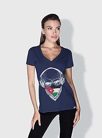 Creo Jordan Skull T-Shirts For Women - M, Blue