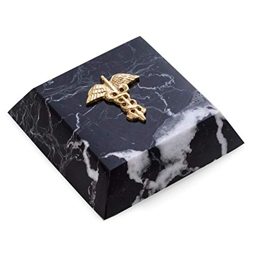 (Black Zebra Marble Caduceus Medical Paperweight with Brass)