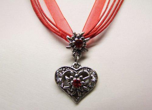 Trachtenkette Herz klein Rot