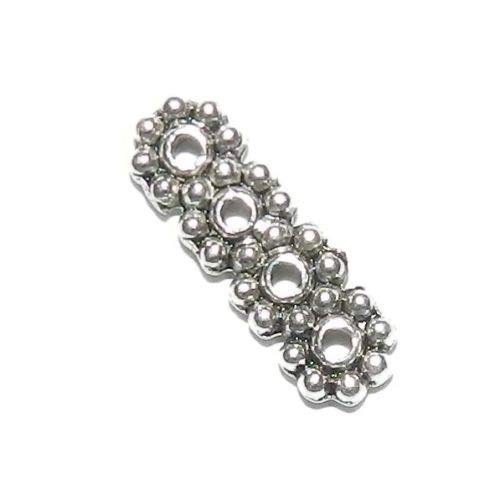 (M7184 Antiqued Silver 13mm Daisy Flower 4-Strand Spacer Bar Metal Beads 25pc Crafting Key Chain Bracelet Necklace Jewelry Accessories Pendants)