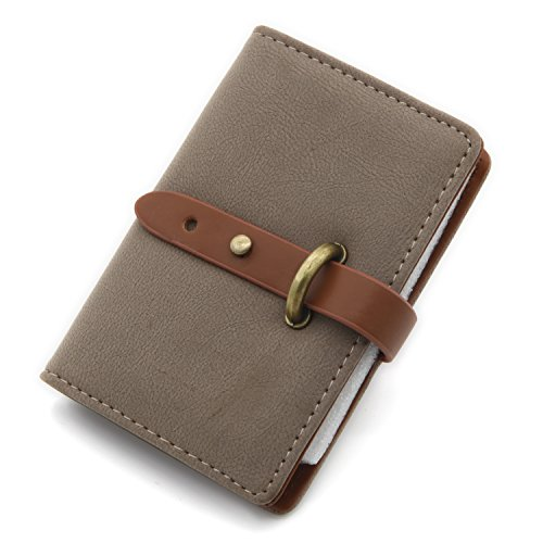 DEEZOMO Leather Unisex Credit Card Holder with 26 Card Slots - Book Style - Size 4.2L X 3 X 0.7 Inches - Coffee