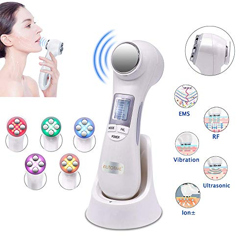 Skin Tightening Machine 6 in 1 Facial Lifting Machine EMS Massager with 5 Color Lights for Deep Cleanse Anti-aging Multifunctional Vibration Beauty Device