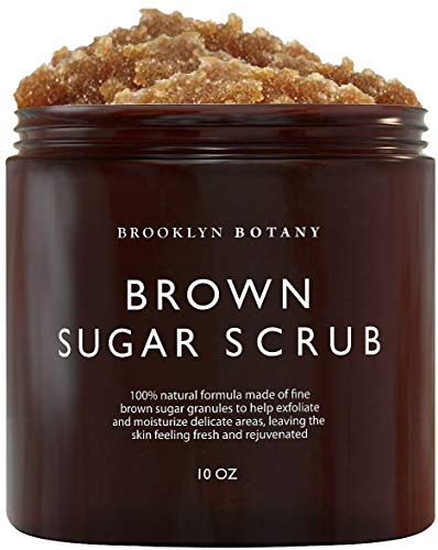 Brooklyn Botany Brown Sugar Body Scrub - Exfoliating Face Scrub & Body Scrub for Cellulite, Stretch Marks, Acne, and Varicose Veins, 10 oz